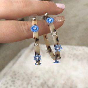 Tortoise and blue flower hoop earrings